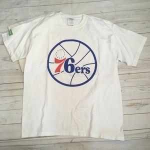76ers boys l white tee nba basketball delta dental